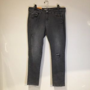 Mossimo Lowest Rise Slim Fit Black Ripped Jeans